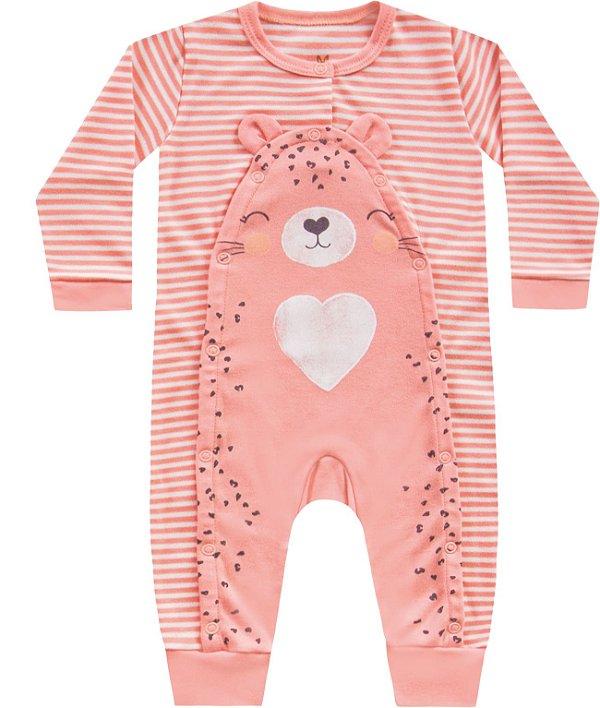 Macacão Bebê Menina Suedine Tigrinha Listras Salm Kiko Baby