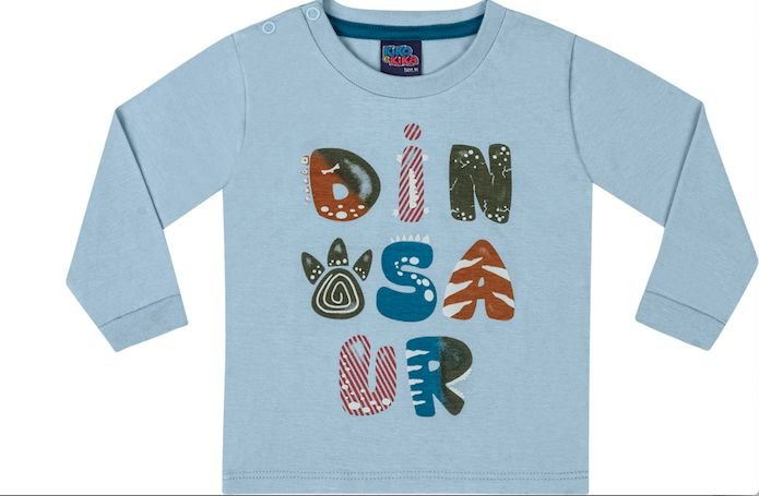 Camiseta Bebê Manga Longa Menino Dinosaur Kiko e Kika