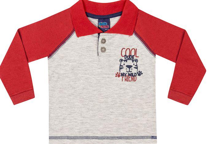 Camiseta Bebê Polo Manga Longa Menino Cool Tiger Kiko e Kika