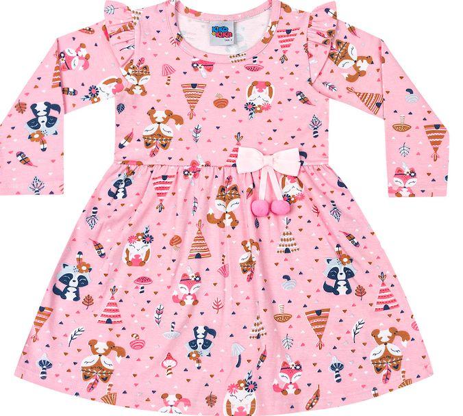 Vestido Infantil Raposinha Rosa Kiko e Kika