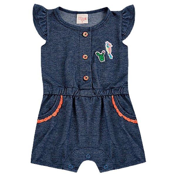 Macaquinho Bebê Romper Path Jeans Az Escuro Kiko Baby