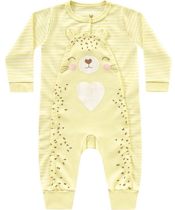 Macacão Bebê Menina Suedine Tigrinha Listras Amare Kiko Baby