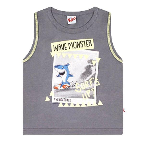 Camiseta Regata Infantil Tubarão Cinza Escuro Kiko e Kika