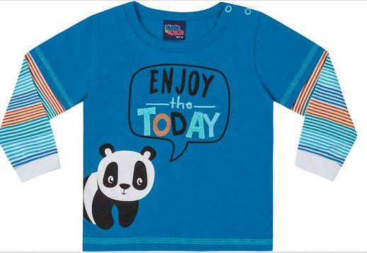 Camiseta Manga Longa Bebê Panda Kiko e Kika