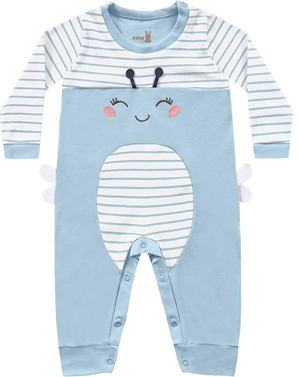 Macacão Bebê Longo Suedine Abelhinha Azul Celeste Kiko Baby