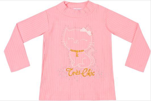 Camiseta Infantil Manga Longa Canelada Menina Gatinha Kiko e Kika