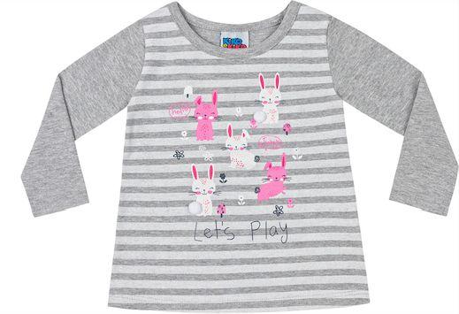 Camiseta Bebê Manga Longa Coelhinho Kiko e Kika