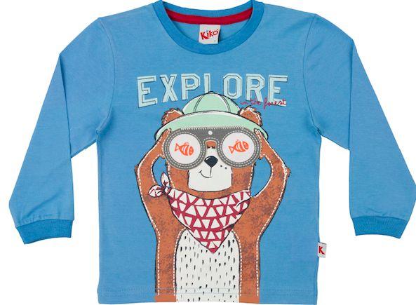 Camiseta Manga Longa Ursinho Explore Kiko e Kika