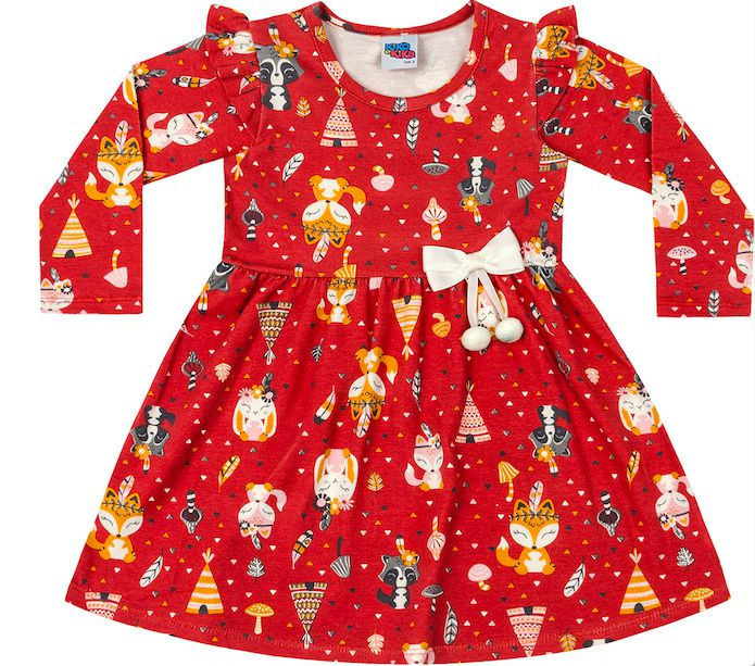 Vestido Infantil Raposinha Vermelho Kiko e Kika