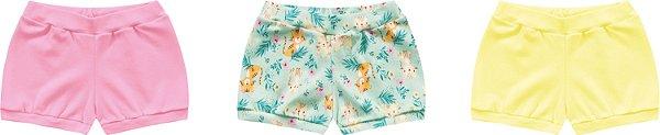 3 Cobre Fraldas Shorts Bebê Suedine Tigrinha Amarelo Kiko Baby