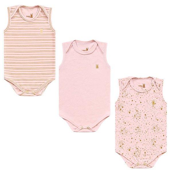 Kit Body Bebê Menina Regata Shine Rosa 3 Peças Kiko Baby