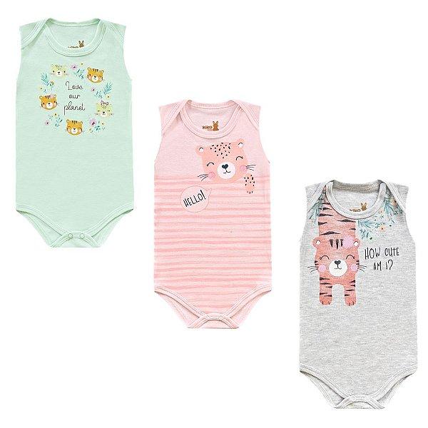 Kit Body Bebê Regata Menina Tigrinha Tricolor Kiko Baby
