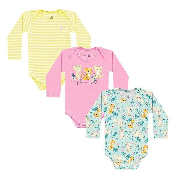 Kit Body Bebê Manga Longa Tigrinha Family Amarelo Kiko Baby