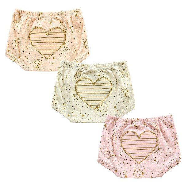 Kit Cobre Fralda Shorts Bebê Menina Coração Shine Kiko Baby