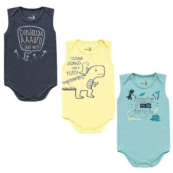 Kit Body Bebê Regata Unissex Dino Tricolor Kiko Baby