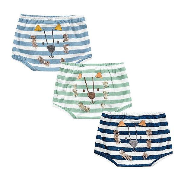 Kit Cobre Fralda Shorts Bebê Leãozinho Listras Kiko Baby