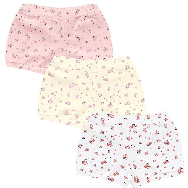 Kit Cobre Fralda Shorts Bebê Little Flowers Tricolor Kiko Baby