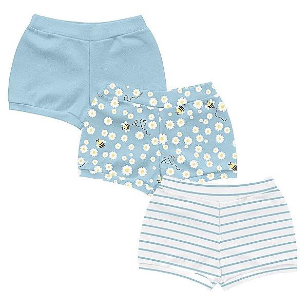 Kit Cobre Fralda Shorts Bebê Abelhinha Little Flowers Azul Kiko Baby