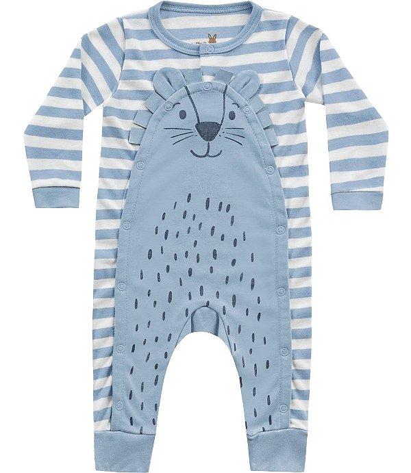 Macacão Bebê Longo Leãozinho Azul Clarinho Kiko Baby