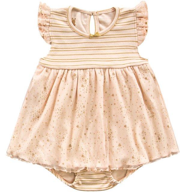 Vestido Bebê Body Romper Menina Shine Salmão Kiko Baby