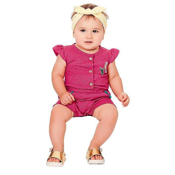 Macaquinho Bebê Romper Path Jeans Rosa Kiko Baby