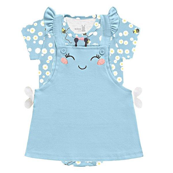 Vestido Bebê Salopete Manga Curta Abelhinha Little Flowers Azul Kiko Baby