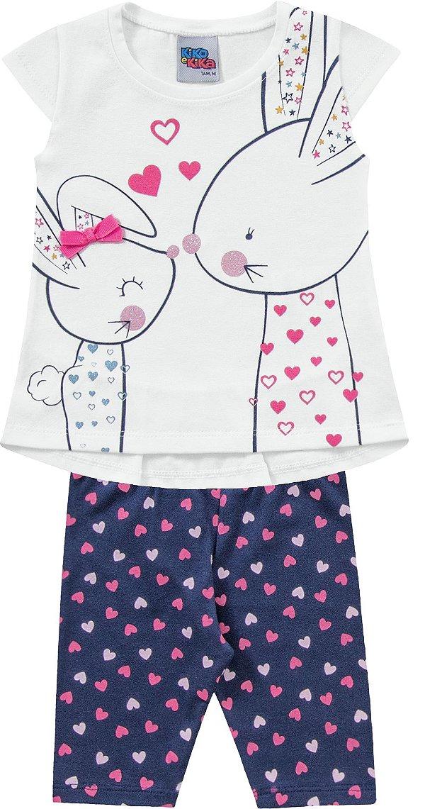 Conjunto Bebê Camiseta Bermuda Coelhinhos Kiko e Kika
