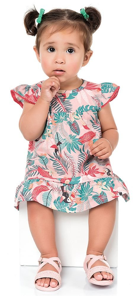 Vestido Bebê Tropical Tucano Rosa Kiko e Kika