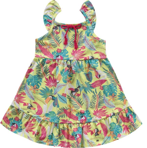 Vestido Infantil Tropical Limão Kiko e Kika