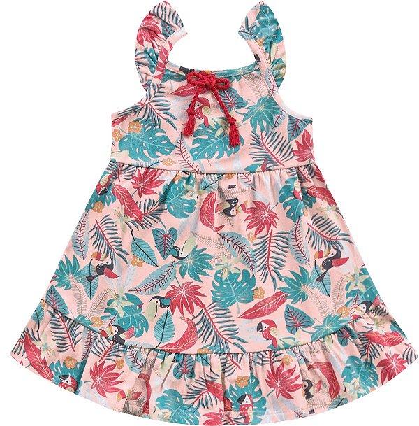 Vestido Infantil Tropical Rosa Kiko e Kika