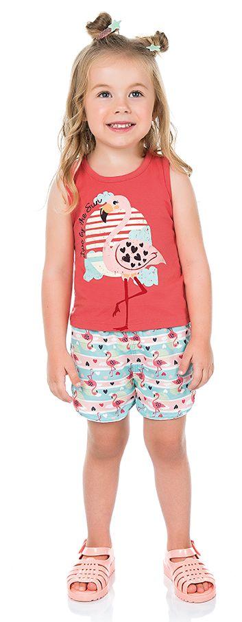 Conjunto Infantil Menina Regata Shorts Flamingo Cereja Kiko e Kika