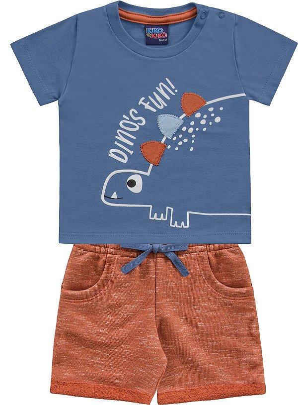 Conjunto Bebê Menino Camiseta Bermuda Dino Tijolo Kiko e Kika