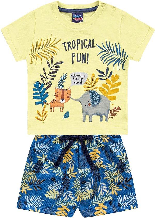 Conjunto Bebê Menino Camiseta Bermuda Leãozinho Amarelo Kiko e Kika