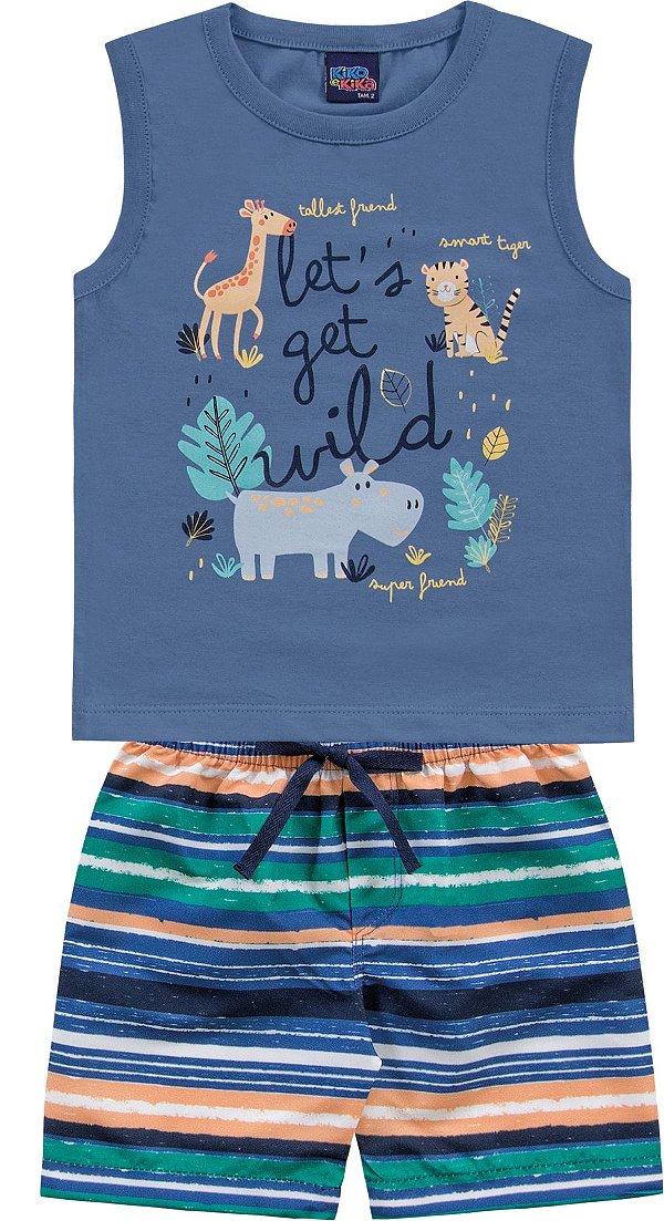 Conjunto Infantil Regata Bermuda Leãozinho Azul Wild Kiko e Kika