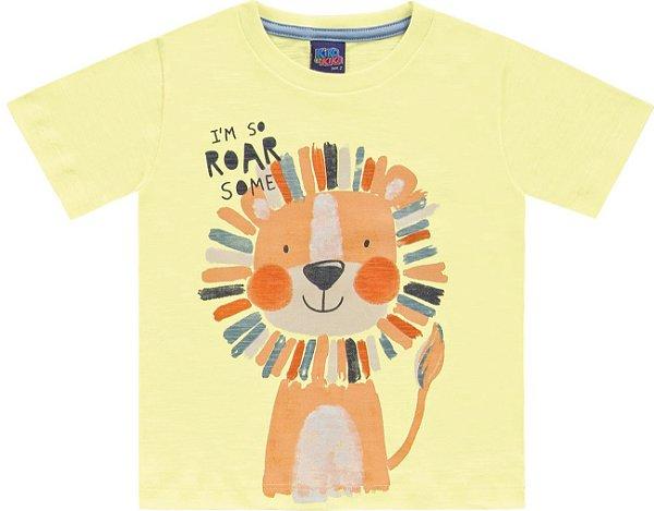 Camiseta Infantil Flamê Leãozinho Roar Amarela Kiko e Kika