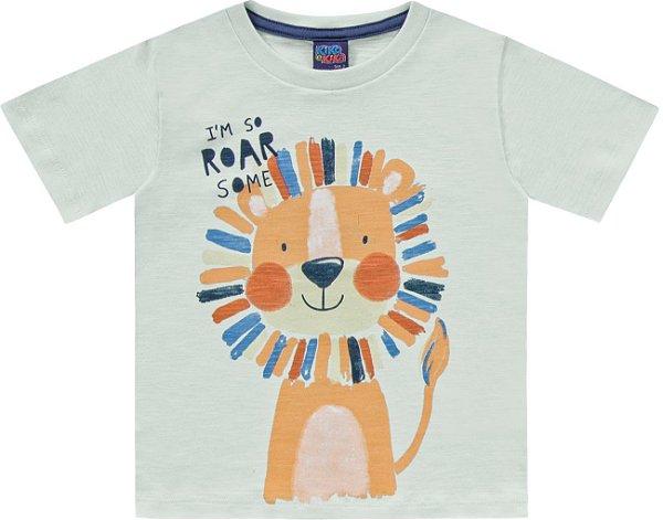 Camiseta Infantil Flamê Leãozinho Roar Verde Kiko e Kika