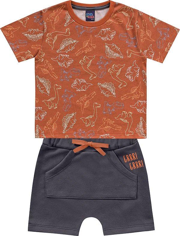Conjunto Infantil Menino Camiseta Bermuda Dinos Tijolo Kiko e Kika