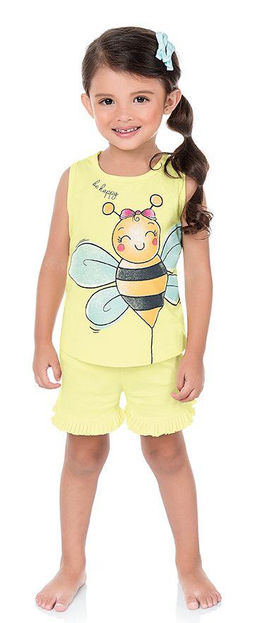 Pijama Infantil Menina Camiseta Shorts Abelhinha Amarelo Kiko e Kika