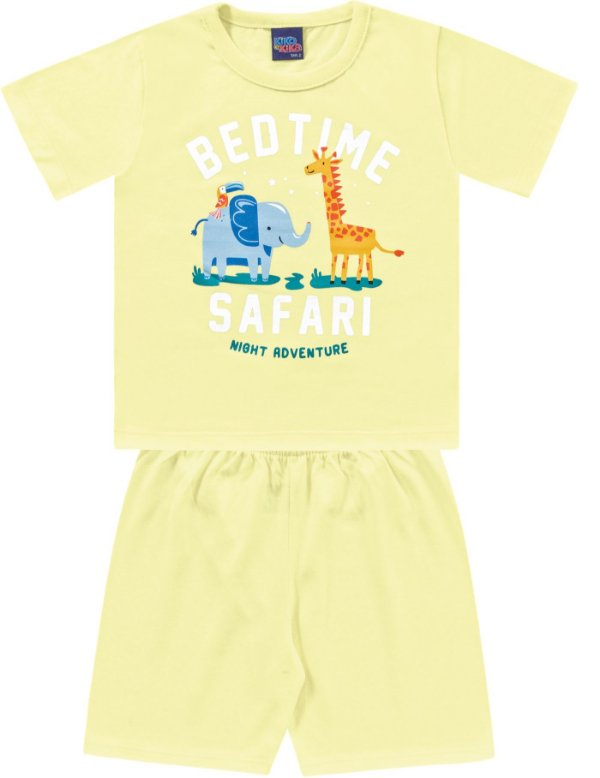 Pijama Infantil Menino Camiseta Shorts Leãozinho Amarelo Kiko e Kika