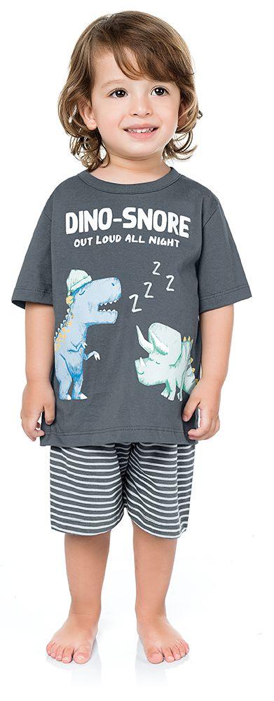 Pijama Infantil Menino Camiseta Shorts Dinos Cinza Kiko e Kika