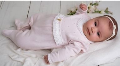 Macacão Bebê Maternidade Sofisticado Pérolas Tricot Renda Pinoti Baby