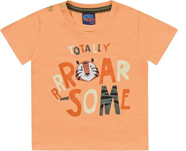 Camiseta Bebê Manga Curta Baby Tiger Laranja Kiko e Kika