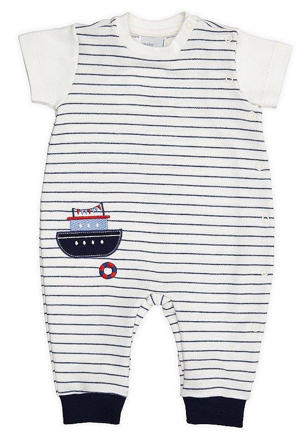 Macacão Bebê Navy Barquinho Algodão Atoalhado Baby Fashion