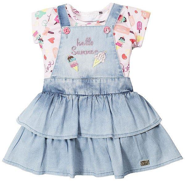 Vestido Infantil Bebê Jeans Claro Hello Summer Anuska