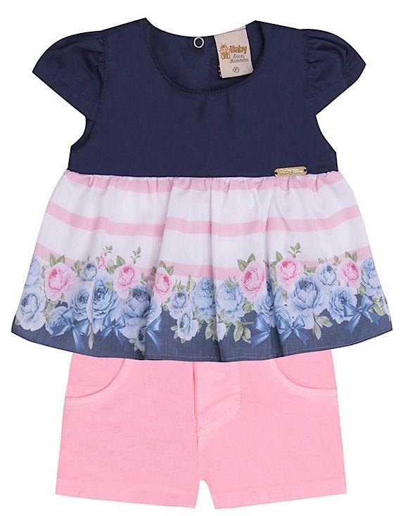 Conjunto Festa Infantil Bebê Bata Floral Azul Shorts Sarja Doces Momentos
