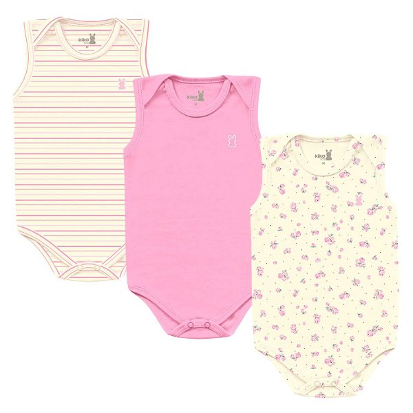 Kit Body Bebê Regata Little Flowers Kiko Baby