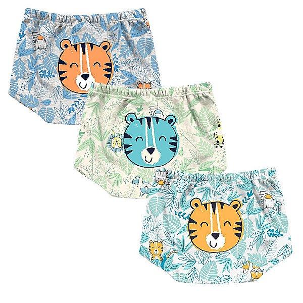 Kit Cobre Fralda Shorts Bebê Tigrinho Floresta Kiko Baby