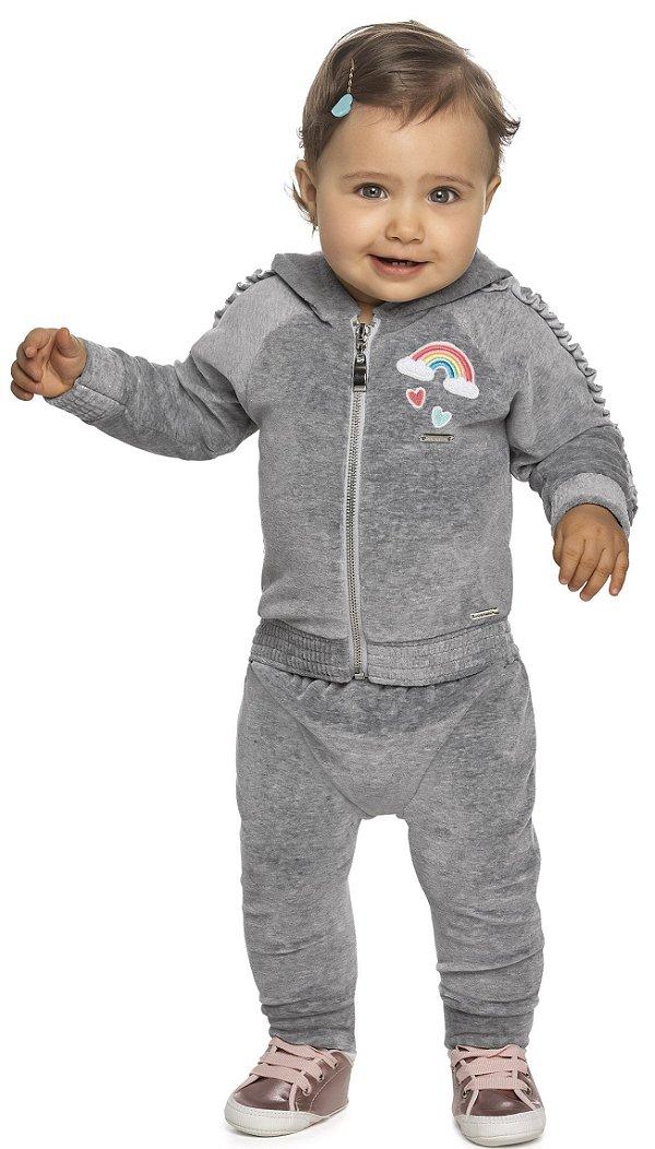 Conjunto Plush Infantil Inverno Jaqueta Calça Colorittá Cinza