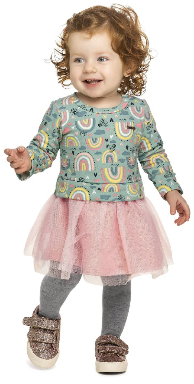 Vestido Infantil Molecotton Felpudo Saia Tule Arco Iris Colorittá Verde