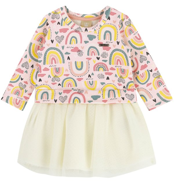 Vestido Infantil Molecotton Felpudo Saia Tule Arco Íris Colorittá Rosa